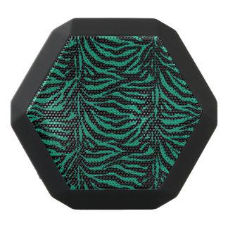 緑および黒いシマウマのアニマルプリントのスピーカー ブラックBluetoothスピーカー