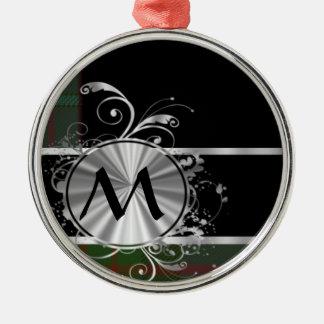 緑および黒いタータンチェック格子縞のモノグラム メタルオーナメント
