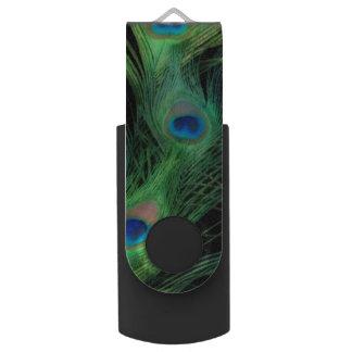 緑および黒い孔雀 USBフラッシュドライブ