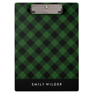 緑および黒い格子縞|のカスタムなモノグラム クリップボード