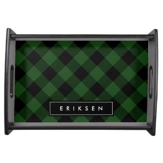 緑および黒い格子縞|のカスタムなモノグラム トレー