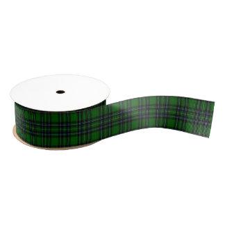 緑および黒い格子縞 グログランリボン