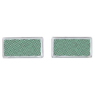 緑および黒い正方形パターン長方形のカフスボタン シルバー カフスボタン