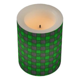 緑および黒い水彩画の点検の格子縞 LEDキャンドル