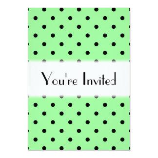 緑および黒い水玉模様パターン カード