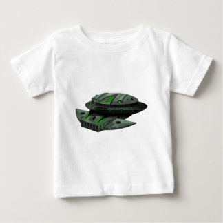 緑および黒い色の宇宙船 ベビーTシャツ
