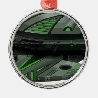緑および黒い色の宇宙船 メタルオーナメント