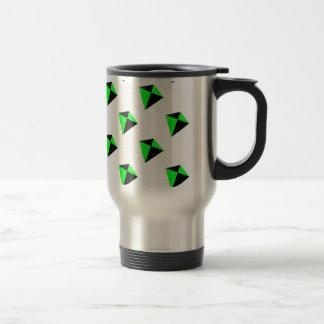 緑および黒い菱形凧パターン トラベルマグ