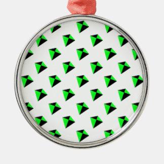 緑および黒い菱形凧パターン メタルオーナメント