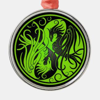 緑および黒い陰陽フェニックス メタルオーナメント