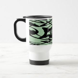 緑および黒のアールヌーボーパターン トラベルマグ