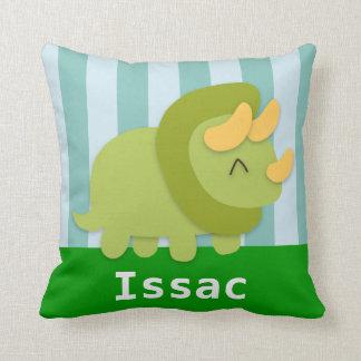 緑かわいいおよび子供へ黄色いトリケラトプス クッション