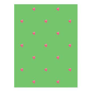 緑かピンクの紙吹雪のハートの郵便はがき ポストカード