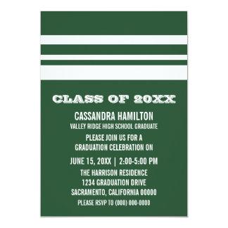 緑か白くはっきりしたでストライプな卒業の招待 カード