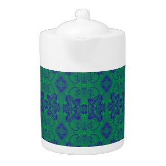 緑か青パターン抽象芸術の茶ポット