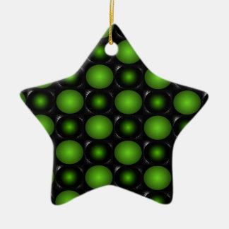 緑がかったチェス盤3Dのデザインの緑 陶器製星型オーナメント