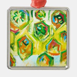緑がかった未加工六角形(幾何学的な表現主義) メタルオーナメント