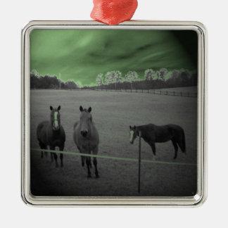 緑と白黒馬 メタルオーナメント