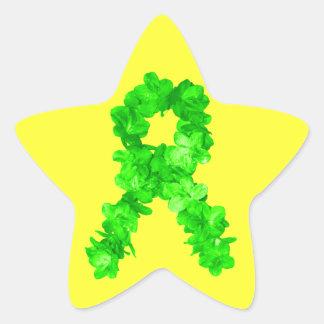 緑によってはリボンが開花します 星シール