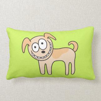 緑のおもしろいな小犬のかわいい子供の動物の漫画 ランバークッション