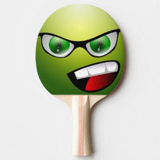 緑のおもしろいな顔の卓球のかい ピンポンラケット