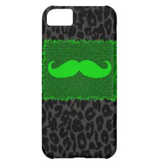 緑のおもしろいな髭およびヒョウのプリント iPhone5Cケース