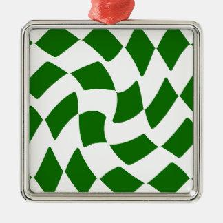 緑のおよび白によって歪められるチェッカーボード メタルオーナメント