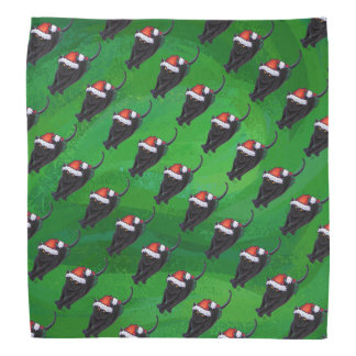 緑のお祝いの黒猫パターン バンダナ