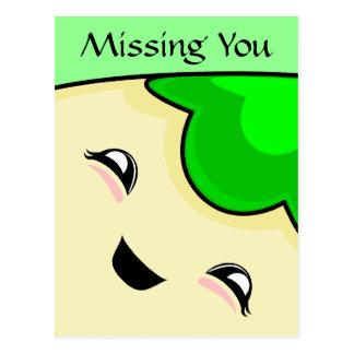 緑のかわいいのくすぐりモンスター ポストカード