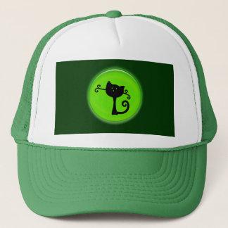 緑のかわいく黒い漫画猫 キャップ