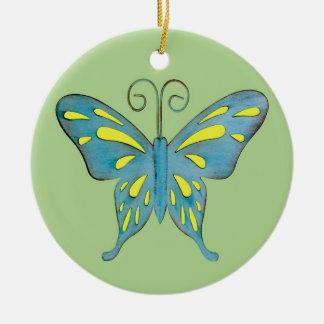 緑のかわいらしいティール(緑がかった色)そして黄色い蝶 セラミックオーナメント