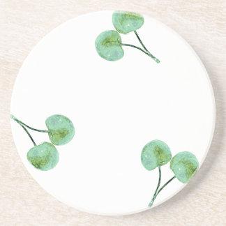 緑のさくらんぼパターン コースター
