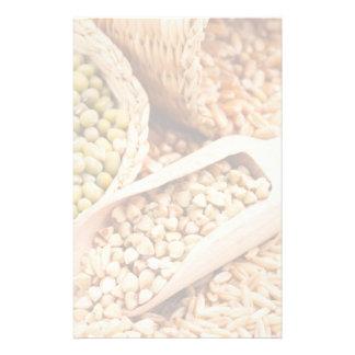 緑のそば粉、ムギ、オートムギおよびMung -穀物 便箋