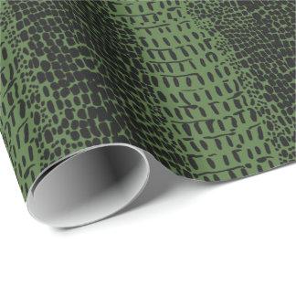 緑のわに皮のプリント ラッピングペーパー