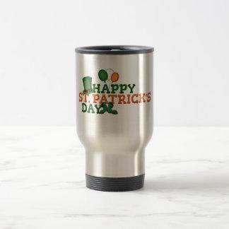 緑のアイルランドのシャムロックの幸せなセントパトリックの日 トラベルマグ