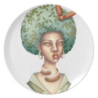 -緑のアフリカのユニークな芸術の女性のためのと行って下さい プレート