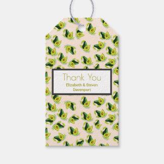 緑のアボカドの水彩画パターンは感謝していしています ギフトタグパック