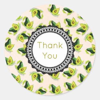 緑のアボカドの水彩画パターンは感謝していしています 丸形シール・ステッカー