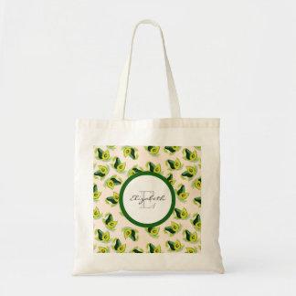 緑のアボカドの水彩画パターンモノグラム トートバッグ