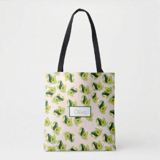 緑のアボカドの水彩画パターン トートバッグ