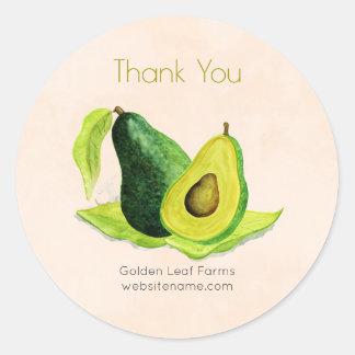 緑のアボカドの静物画のフルーツは感謝していしています 丸型シール