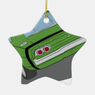 緑のアメリカ筋肉車 セラミックオーナメント