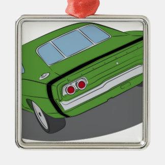 緑のアメリカ筋肉車 メタルオーナメント