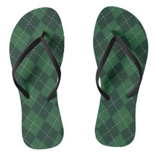 緑のアーガイル柄のでパターン(の模様が)あるなビーチサンダル ビーチサンダル