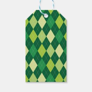 緑のアーガイル柄のなパターン ギフトタグ