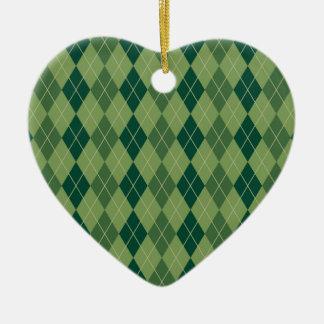 緑のアーガイル柄のなパターン セラミックオーナメント