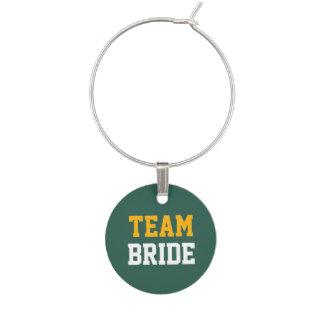 緑のイエロー・ゴールドのチーム白人の花嫁の結婚 ワインチャーム