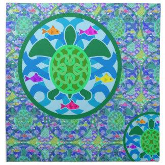 緑のウミガメの夕食ナプキン ナプキンクロス