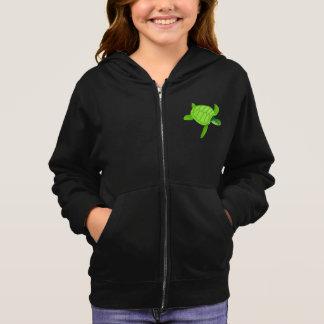 緑のウミガメの女の子のフード付きスウェットシャツ パーカ