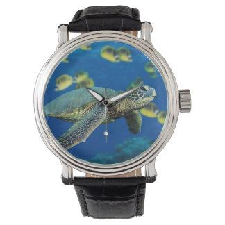 緑のウミガメ 腕時計